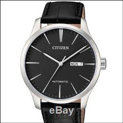 Citizen Automatic Black Dial Watch with Black Leather Strap NH8350-08E