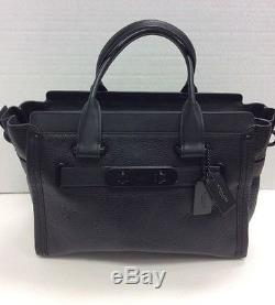 Coach Black Leather Pebble Swagger Bag With Dust Bag and Shoulder Strap