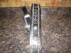 Custom Leather Guitar Strap Black With (your Name) & Silver Conchos 2 1/2 Wide