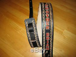 Custom Leather Guitar Strap With Your Name/ Music Notes 2 1/2 Black Red Letters