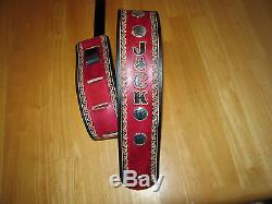 Custom Made Hand Tooled Leather Guitar Strap Red & Black 3' Wide Name & Conchos