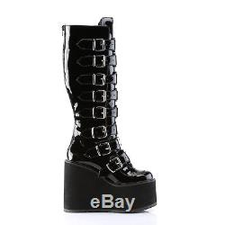 DEMONIA SWING-815 Womens Punk Gothic Buckle Strap Platform Knee High Boots Shoes