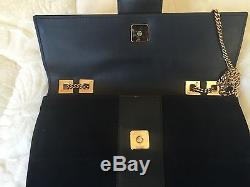 Designer Gucci black suede leather evening bag with gold hardware & chain strap