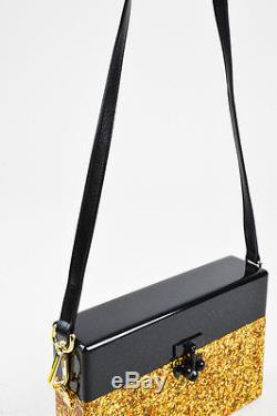 Edie Parker Black Gold Acrylic Leather Strap Glittered Small Trunk Crossbody Bag