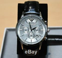 Emporio Armani Mens Ar2432 Watch Silver Dial Leather Strap £259 Rrp New