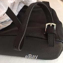 FURLA Smalll Black Backpack with Adjustable straps Front Pocket Calf Leather