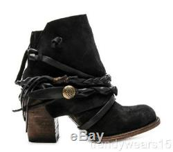 Fast Ship! Mint! Sz 7 $295 Freebird By Steven Cairo Black Suede Strap Ankle Boot