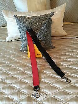 Fendi Strap You Leather Shoulder Strap Black And Red With Green Lining