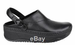 FitFlop Gogh Pro black ladies hospital work mule shoe clog with back strap 3-9