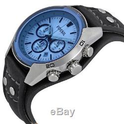 Fossil Blue Glass Chronograph Black Leather Strap Mens Watch CH2564