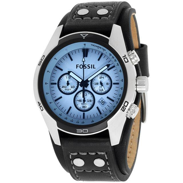Fossil Coachman Silver Dial Leather Strap Men's Watch Ch2564