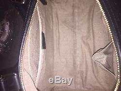 GUCCI BLACK BOSTON LEATHER BAG With MICRO GG & DETACHABLE STRAP (NEWithAUTHENTIC)