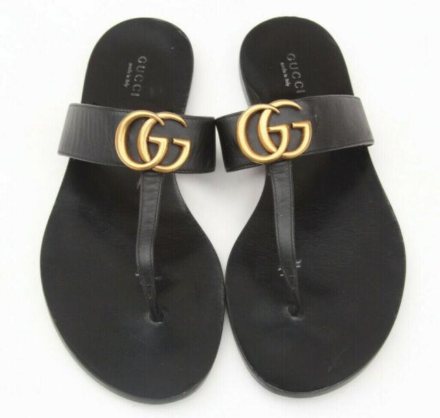 Gucci'marmont' Black Leather Double Gg T-strap Thong Sandals Eu 37.5 Us 7.5