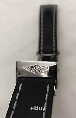 Genuine Breitling OEM Black Calf Leather Strap and Deployment Clasp 20/18 NEW