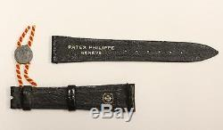 Genuine Patek Philippe withSeal Leather Alligator Watch Strap Band 18 mm Black New