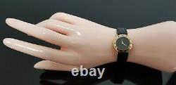 Gucci 3000.2. L Gold Plated Ladies Black Dial Wristwatch on New Leather Strap