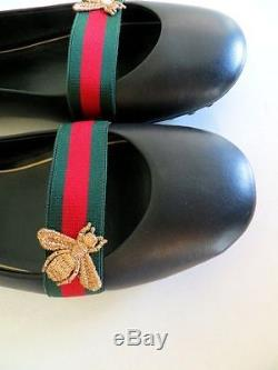 Gucci AUTH NIB Bayadere Bee Blk Leather Green Red Web Strap Ballerina Flat 39.5