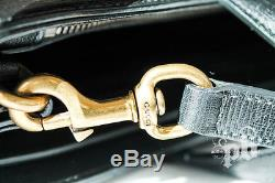 Gucci Black Leather Bag with Horsebit Ornament and Strap