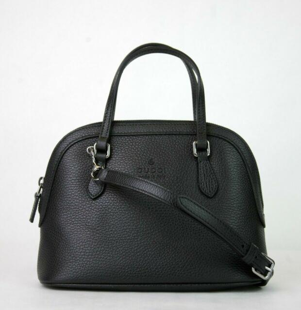 Gucci Black Leather Small Cross Body Dome Bag Withdetachable Strap 341504 1000