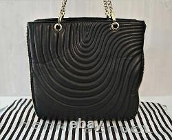 HENRI BENDEL No 7 Quilted Black Lambskin Leather Chain Strap Expandable Tote