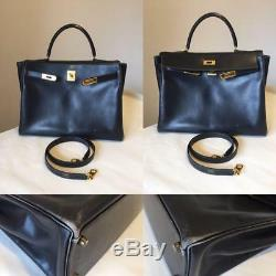 HERMES KELLY 35 Box Carf Leather Black 2Way Shoulder Hand Bag With Strap Used Ex++