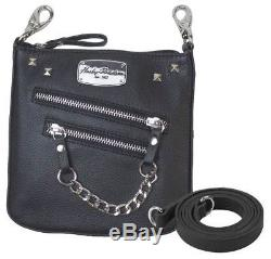Harley-Davidson Women's Chain Gang Deluxe Leather Clipbag with Strap CG2351L-BLK