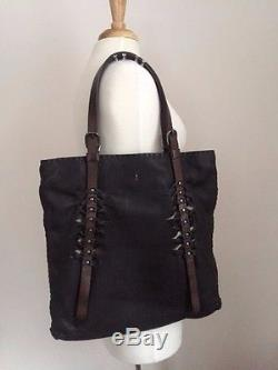 Henry Beguelin WASKA Black Pebbled Leather Tote w Studs & Brown Leather Straps