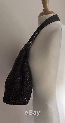 Henry Cuir Beguelin Black Woven Leather Tote Hand Bag w Two Flat Straps