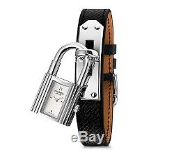 Hermes Kelly Watch Brand New Black Leather Strap Stainless Steel Authentic