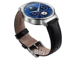 Huawei W1 Stainless Steel Classic Smartwatch with Black Leather Strap For iOS Or
