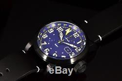 Invicta Aviator COMBAT BLACK OPS 52MM Swis Blue Dial GMT Blk Leather Strap Watch