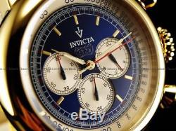 Invicta Men Bomber Jeep Vintage Chronograph 18KGIP SS Black Leather Strap Watch
