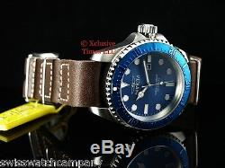 Invicta Men Hydromax Deep Blu Dial Brown Army Natto Style Leather Strap SS Watch