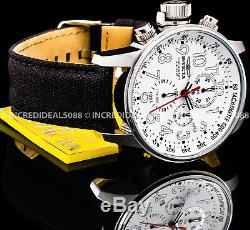 Invicta Men I-Force Lefty Chronograph White Dial Black Canvas Strap Watch