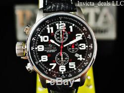 Invicta Men's 46mm I Force Lefty Chronograph BLACK Dial Leather Strap SS Watch