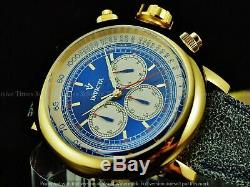 Invicta Mens 48mm Vintage Bomber Limo Jeep Chrono 18KGIP SS Leather Strap Watch