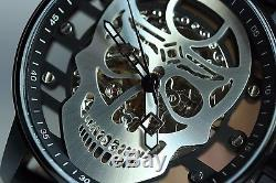 Invicta S1 Rally Mens Mechanical Silver Skull Dial Black Leather Strap Watch