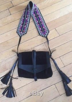 Isabel Marant Black Suede And Leather With Colorful Pearl Strap'Hira' Bag