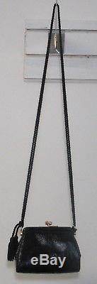 JUDITH LEIBER New York black pebbled leather evening bag with rope straps
