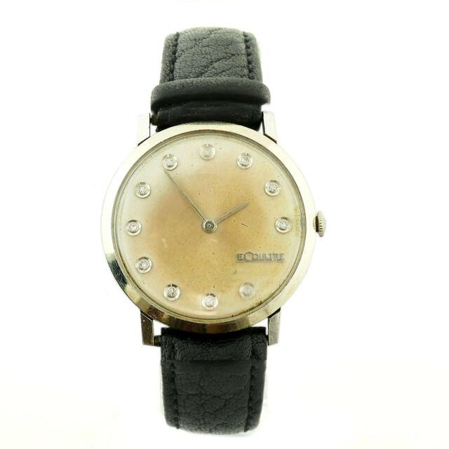 Jaeger-le Coultre Vintage Gold Diamond Dial White Solid Gold Mens Watch On Strap