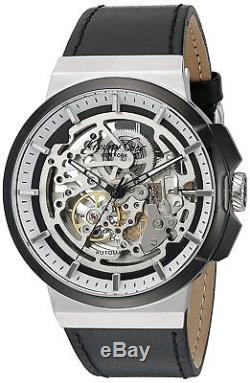 Kenneth Cole New York Men's 10022314 Automatic Skeleton Dial Black Leather Strap