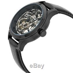 Kenneth Cole Silver Skeleton Dial Black Leather Strap Men's Watch 10027342