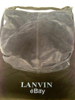 LANVIN Sac Padova Blue Soft Leather Tote Black Knotted Strap From Barneys EUC