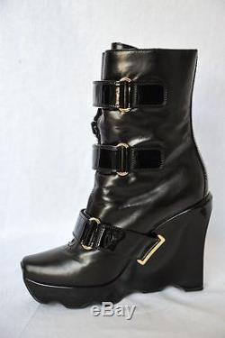 LOUIS VUITTON Womens Black Leather RUNWAY Patent Strap FUR LINED Wedge Boots 40