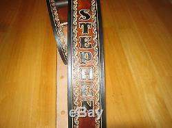 Leather Guitar Strap Custom Made (with Your Name) 2 1/2'' Wide Brown & Black