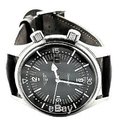 Longines Heritage Legend Diver Luxury Mens SS Leather Strap Watch