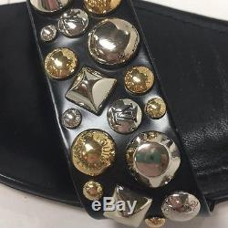 Louis Vuitton Black Leather Gold And Silver Studded Ankle Strap Size 40