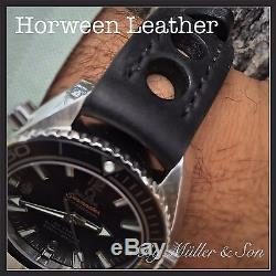 Müller&Son Genuine Horween Leather Rally Watch Strap 20 mm Black Custom Made