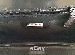 MARNIBlack Patent+Brown Leather Large Convertible Strap Bag Beautiful Unique