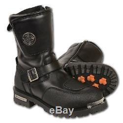 MENS MOTORCYCLE BIKER WATERPROOF BOOTS SHOES with STRAP & SIDE ZIPPER SA95
